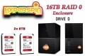16TB Preconfigured Hyperspin Hard Drive External RAID 0 Enclosure Western Digital My Book Duo Gen 2